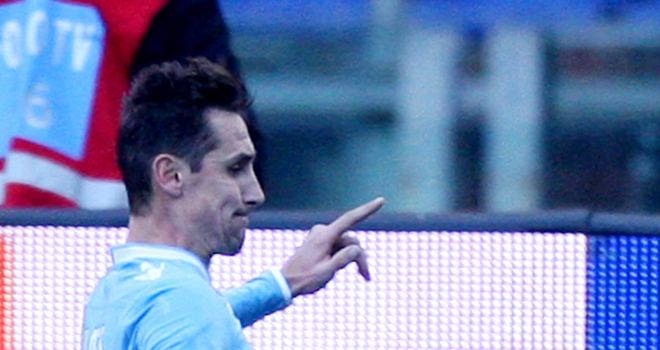 Miroslav Klose celebrates scoring for Lazio