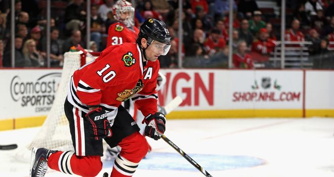 Patrick Sharp: Bagged his third career hat-trick in Friday's win over the Avalanche