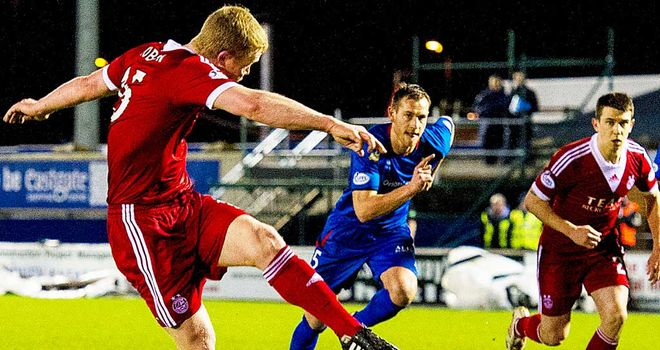 Barry Robson opens the scoring for Aberdeen against Inverness Caley