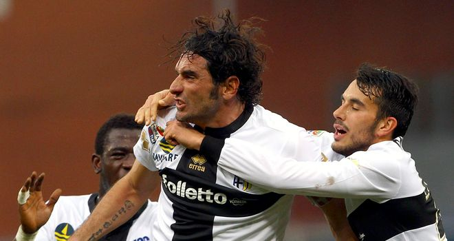 Alessandro Lucarelli celebrates for Parma