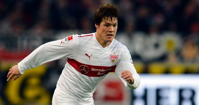 Gotoku Sakai of Stuttgart controls the ball