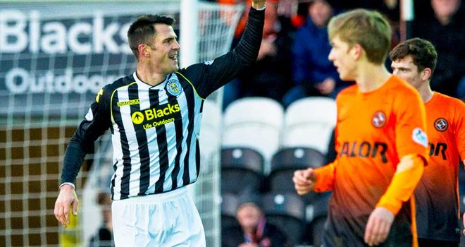 Steven Thompson: St Mirren striker celebrates his first goal against Dundee United