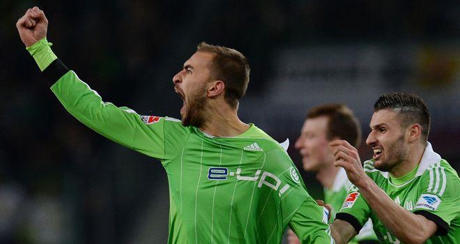 Bas Dost celebrates for Wolfsburg