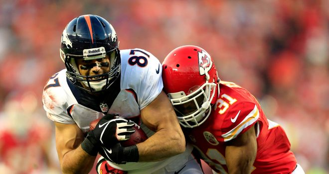 Wide receiver Eric Decker scored four touchdowns for the Denver Broncos
