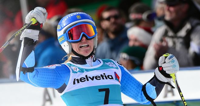 Jessica Lindell-Vikarby: Reacts after crossing the finish line to win the women's giant slalom