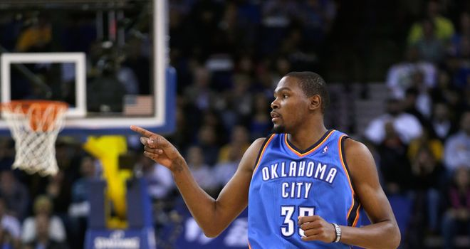 Kevin Durant: Scored 41 points as Oklahoma City Thunder beat the New York Knicks