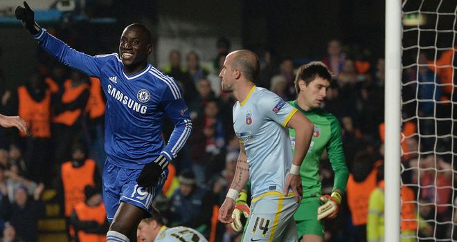 Demba Ba: Celebrates giving Chelsea an early lead at Stamford Bridge