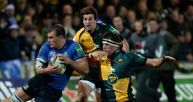 Tom Wood: Northampton flanker tangles with Rhys Ruddock