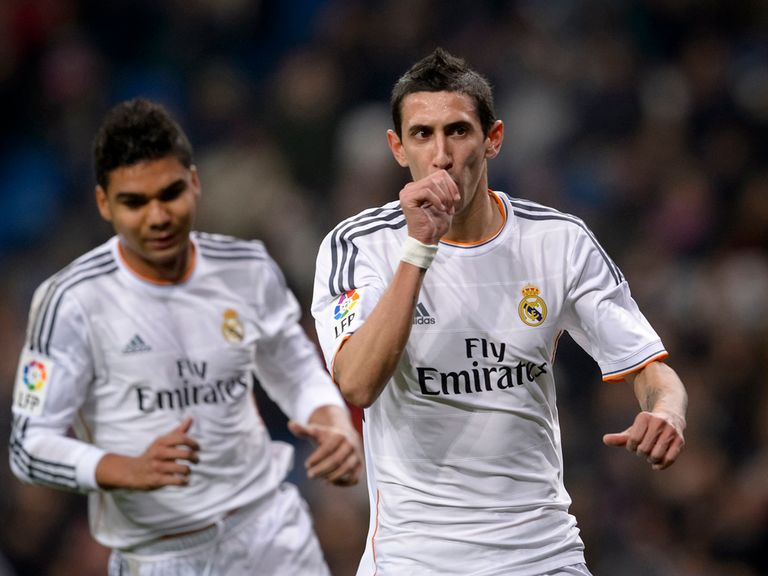 Angel di Maria celebrates for Real Madrid