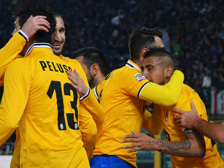 Juventus celebrate during their victory at Bologna