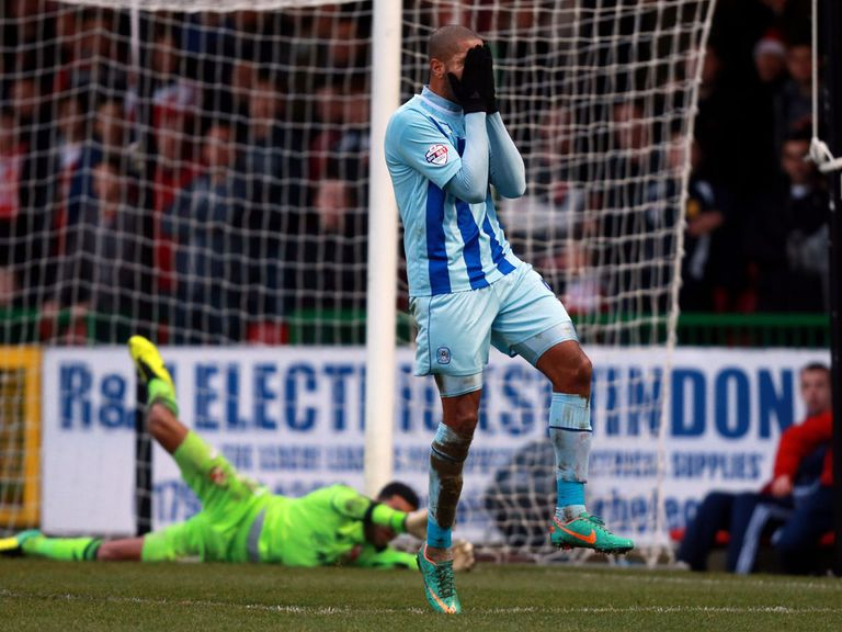 Leon Clarke rues a missed chance as Coventry lose