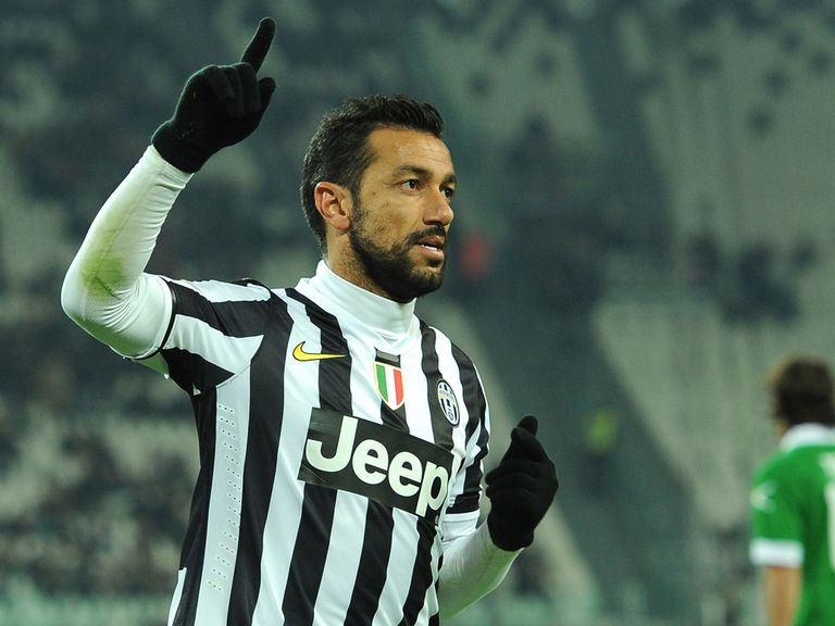 Fabio Quagliarella celebrates for Juventus