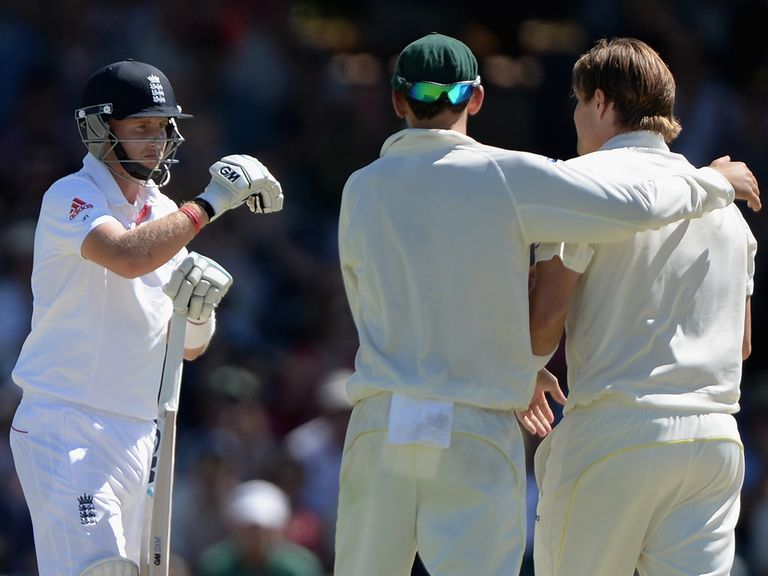 Root reviews, unsuccessfully, after being given out caught behind