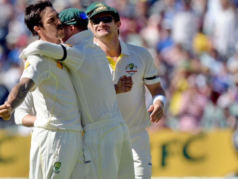 Mitchell Johnson (l) tore England apart with seven wickets