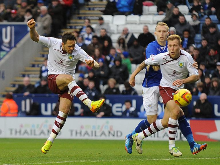 Danny Ings scores Burnley's equaliser against Leicester.