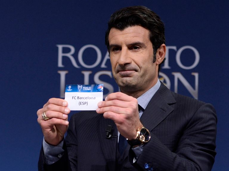 Luis Figo pulls Barcelona out of the hat to face Manchester City