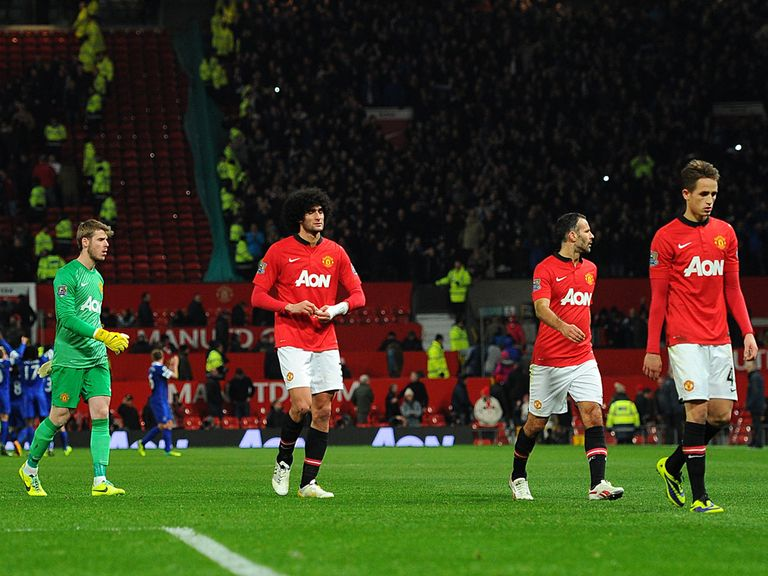 Man United are dejected after their 1-0 defeat to Everton