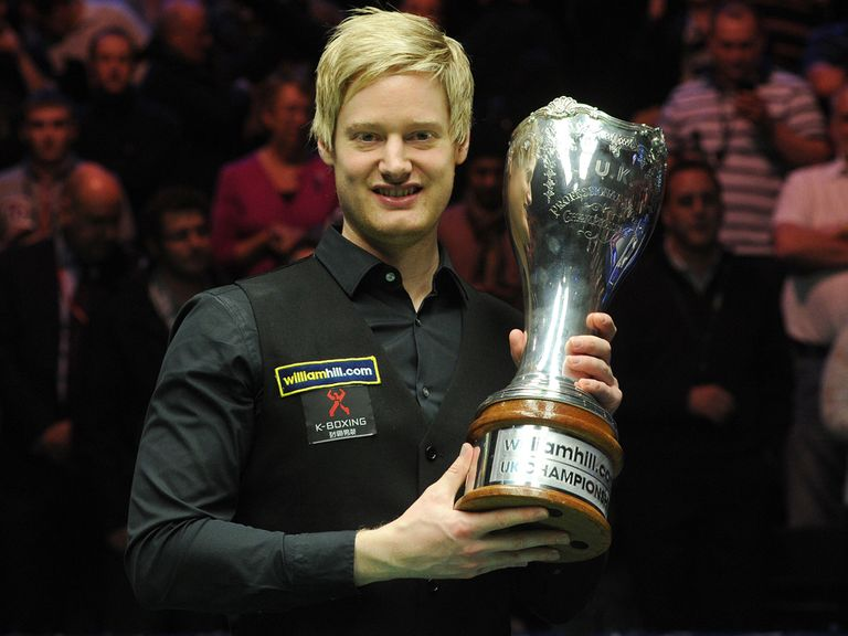 Neil Robertson poses with the trophy