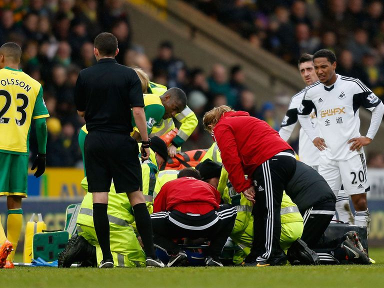 Nathan Dyer: Taken to hospital with an ankle injury