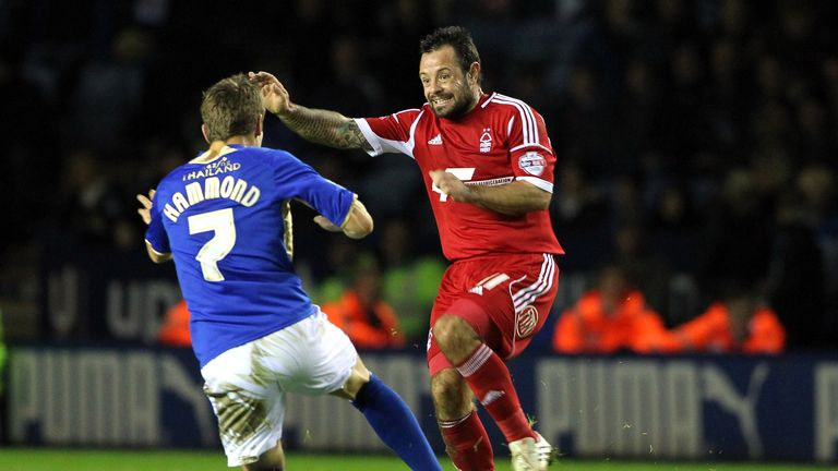 Andy Reid in typically combative fashion for Nottingham Forest