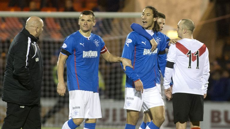 Bilel Mohsni and Gary Bollan clash at Airdrie