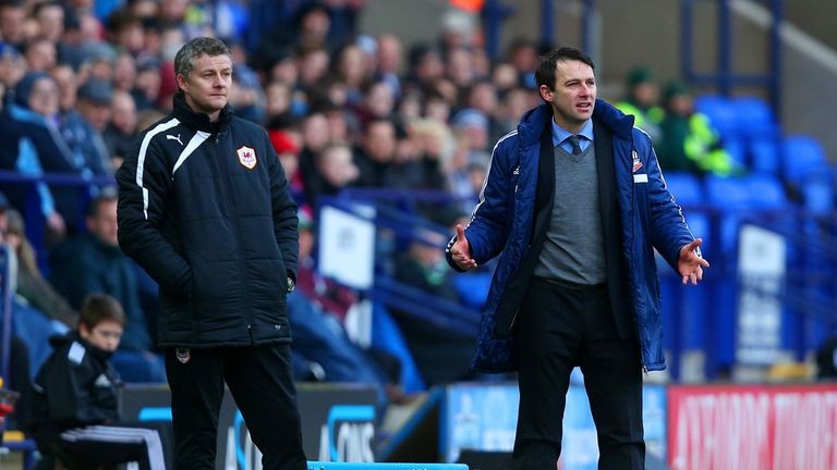 Ole Gunnar Solsjkaer and Dougie Freedman on the sidelines on Saturday