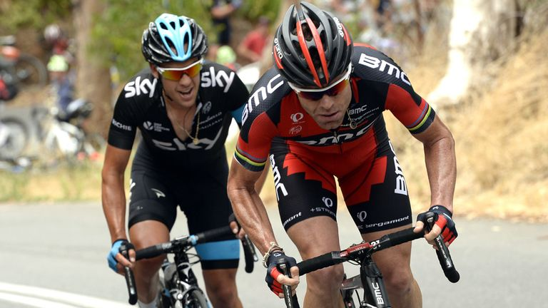 Attack: Porte and Evans broke away on Corkscrew, but the BMC man prevailed