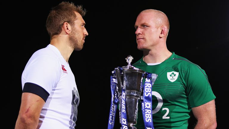 Chris Robshaw and Paul O'Connell pose with the Six Nations trophy