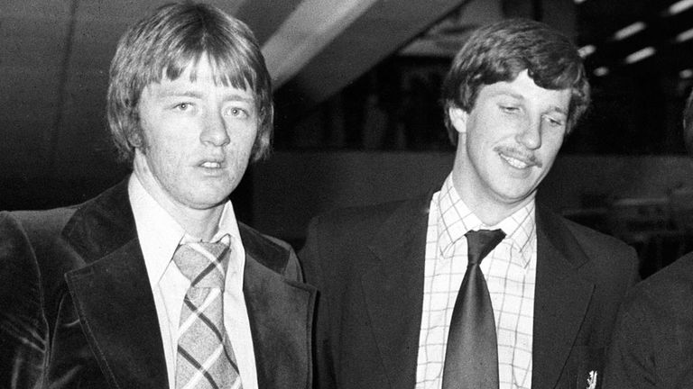 Graham Stevenson (l) with Ian Botham in January 1977