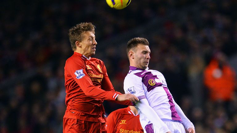 Lucas Leiva (l): In action for Liverpool