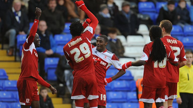 Mustapha Carayol (centre): Scored twice for Middlesbrough at Blackpool