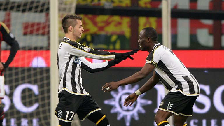 Nico Lopez (left): Celebrates his goal for Udinese