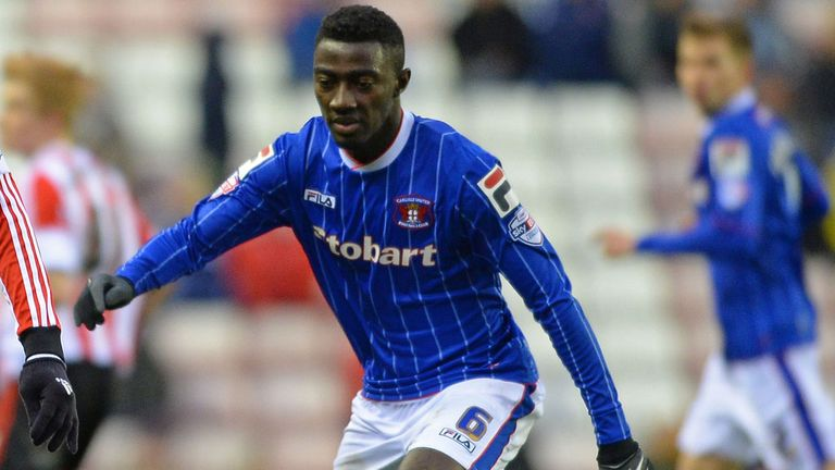 Prince Buaben playing for Carlisle earlier this month