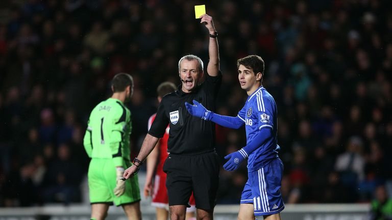 Oscar: On target for Chelsea after being booked for diving