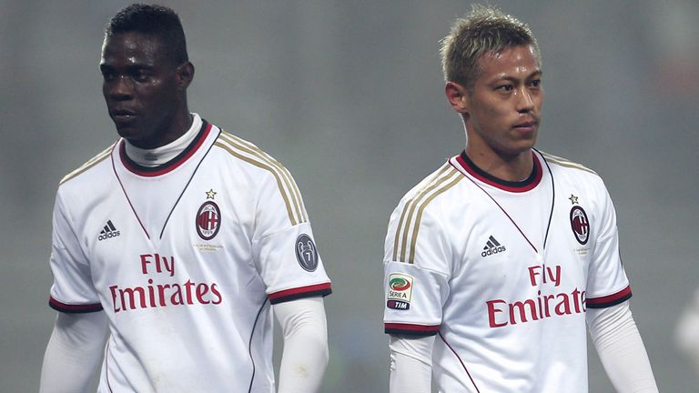 Keisuke Honda and Mario Balotelli: Part of AC Milan side beaten by Sassuolo