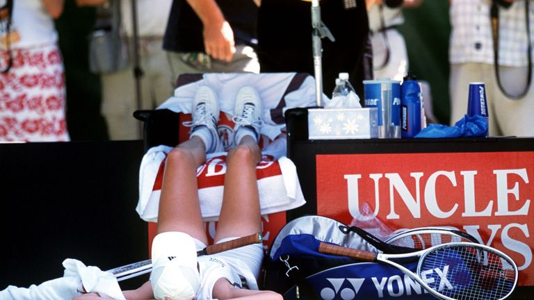 Martina Hingis's game collapsed in the heat at the 2002 Australian Open