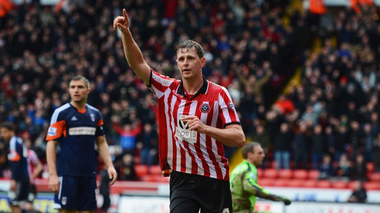 Chris Porter: Celebrates opening the scoring for Sheffield United
