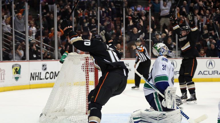 Corey Perry celebrates after scoring the game-winning goal in overtime