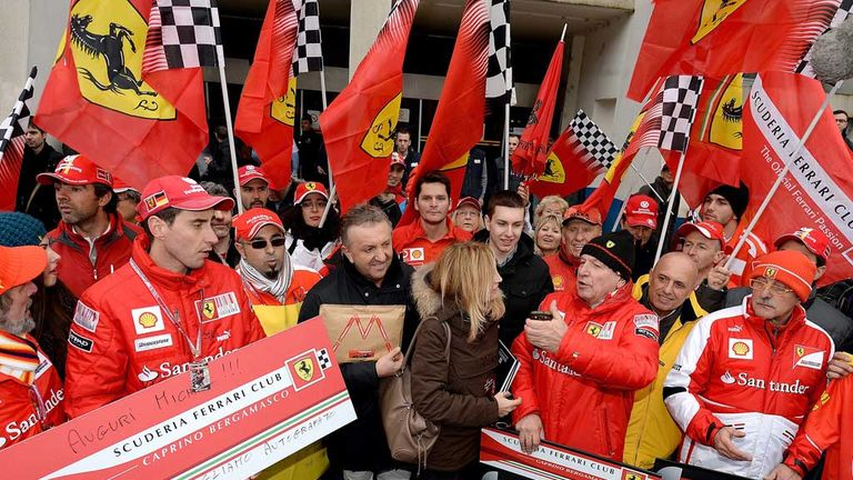 Ferrari fans pay tribute to Michael Schumacher in Grenoble
