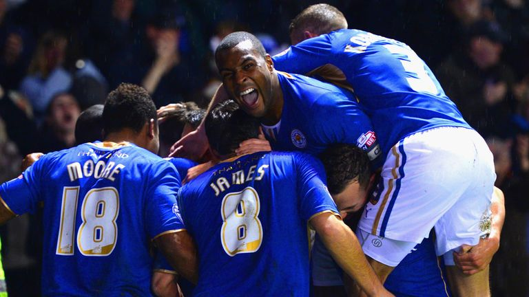 Wes Morgan: Celebrates after Jamie Vardy scores to make it 4-1
