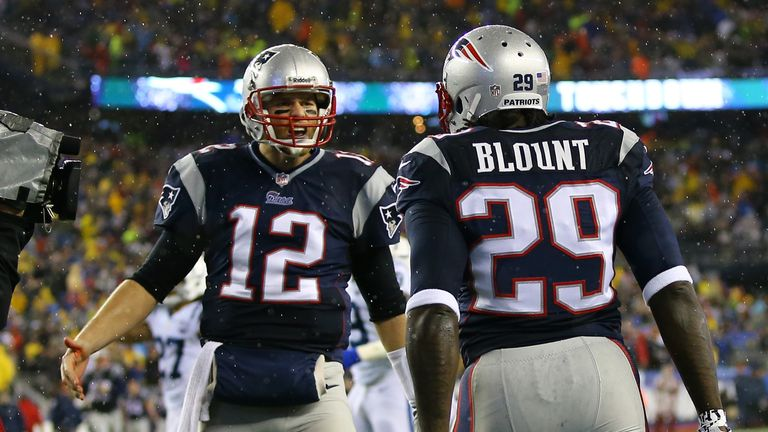 Tom Brady celebrates with team-mate LeGarrette Blount