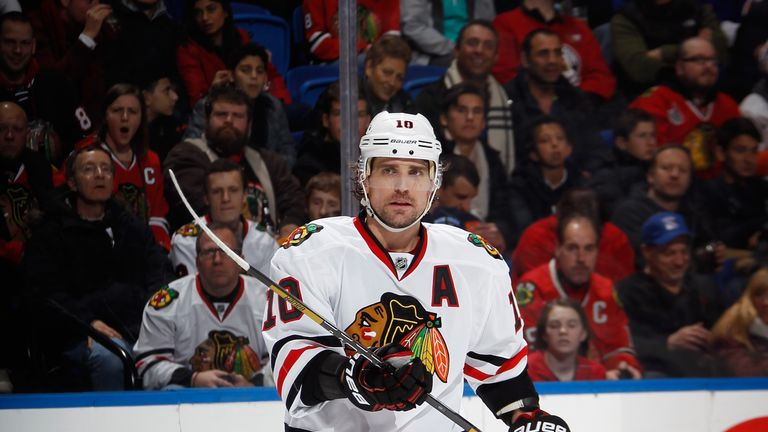 Patrick Sharp: Scored hat-trick in Blackhawks' victory over Devils