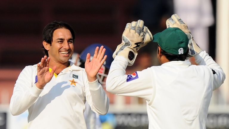 Saeed Ajmal: Pakistan spinner celebrates the wicket of Mahela Jayawardene