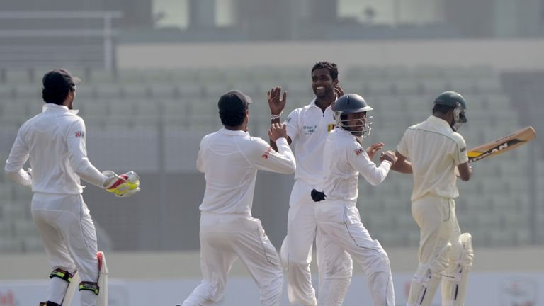 Shaminda Eranga (c): Took four wickets on opening day of first Test