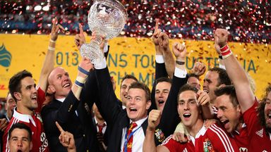 The British and Irish Lions celebrate victory over Australia in 2013