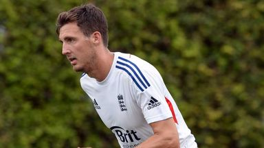 Steven Finn: England paceman in action in the nets