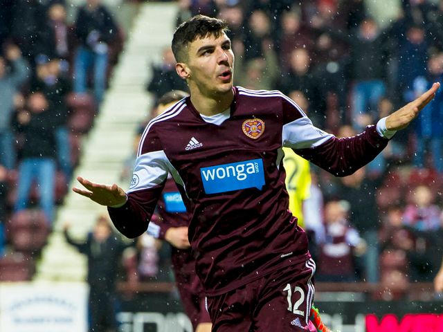 Callum Paterson celebrates for Hearts