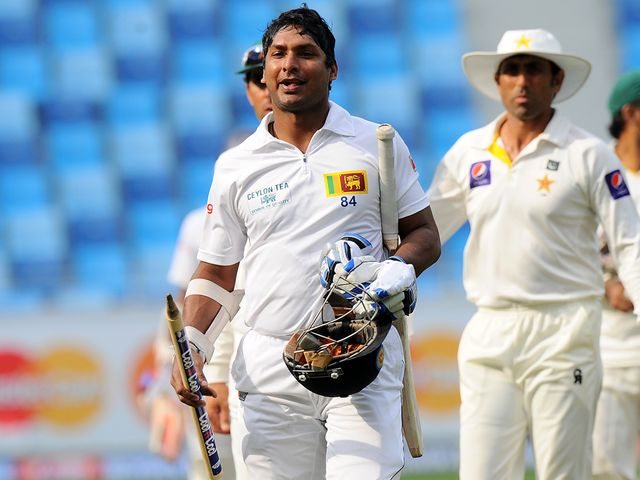 Kumar Sangakkara leaves the field after Sri Lanka's victory