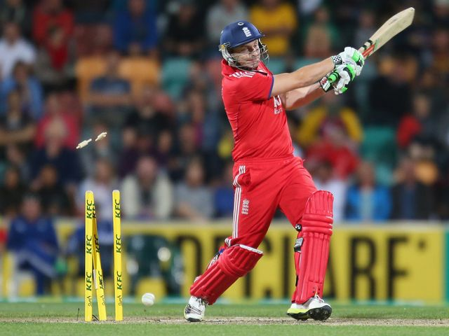 England's Luke Wright is clean bowled in Hobart