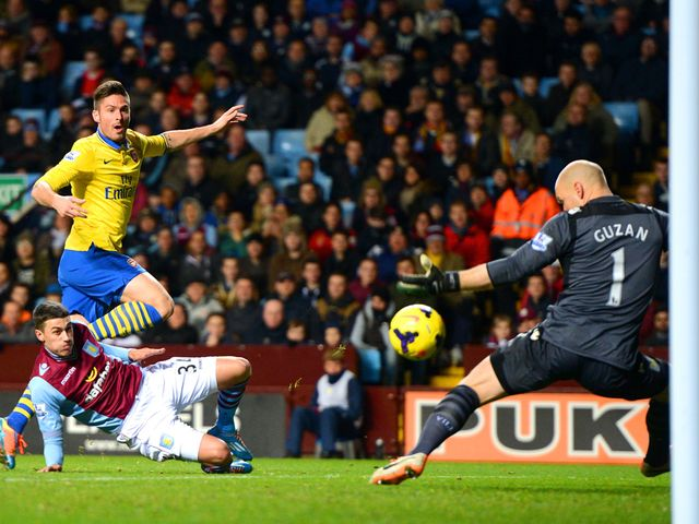 Olivier Giroud fires home Arsenal's second goal on the night